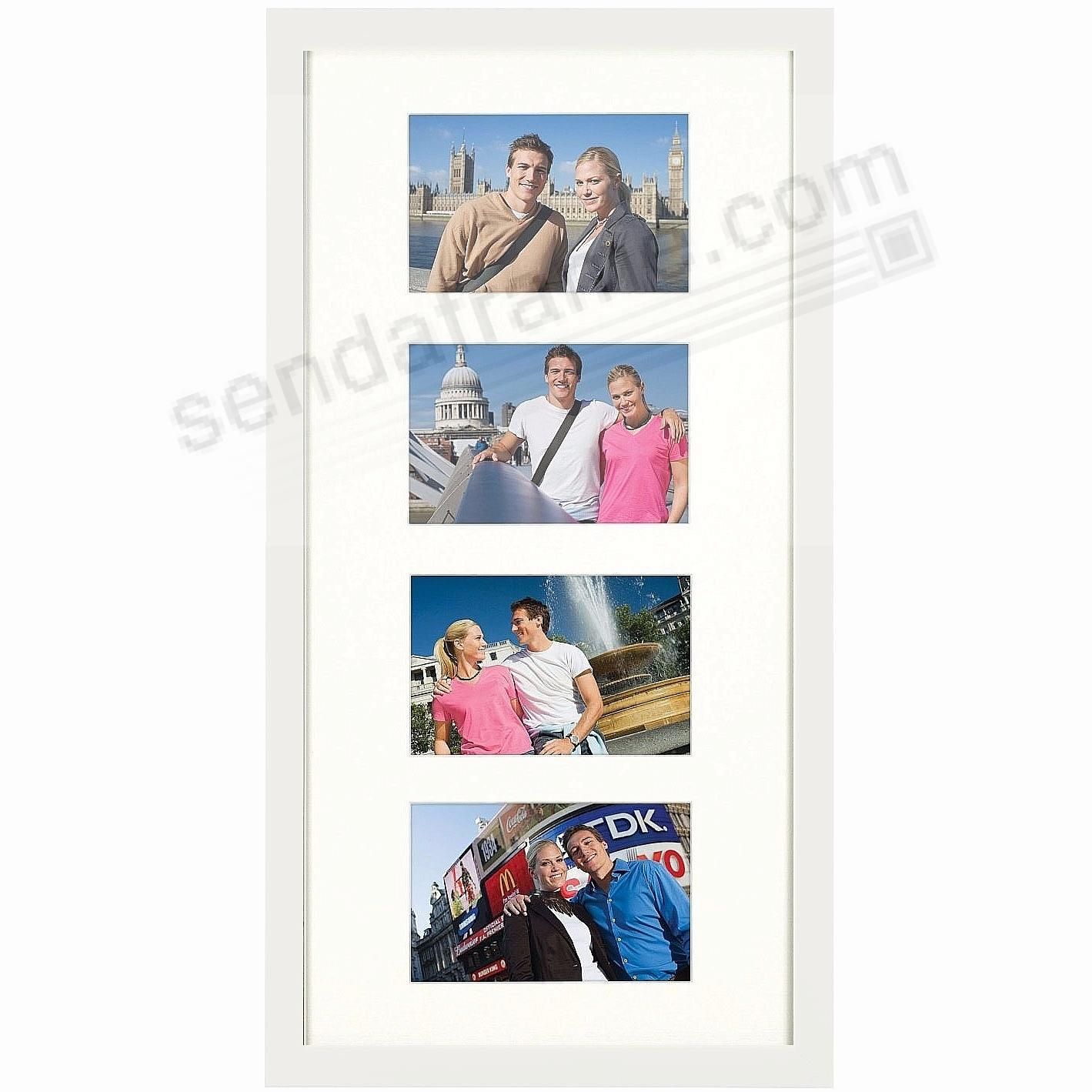 Matte-White TRIBECA Archival Matted Wood frame for 4 - 4x6/10x20 by ARTCARE®