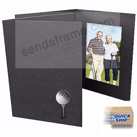 Golf Silver-Foil design<br>on Black Cardboard 4x6 Photo folder