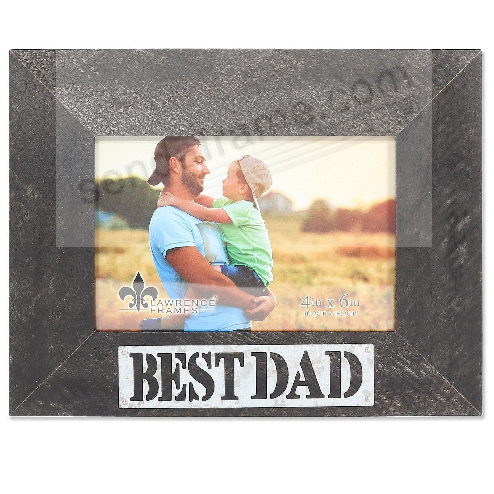 Black Weathered Frame with Galvanized Metallic BEST DAD Plaque