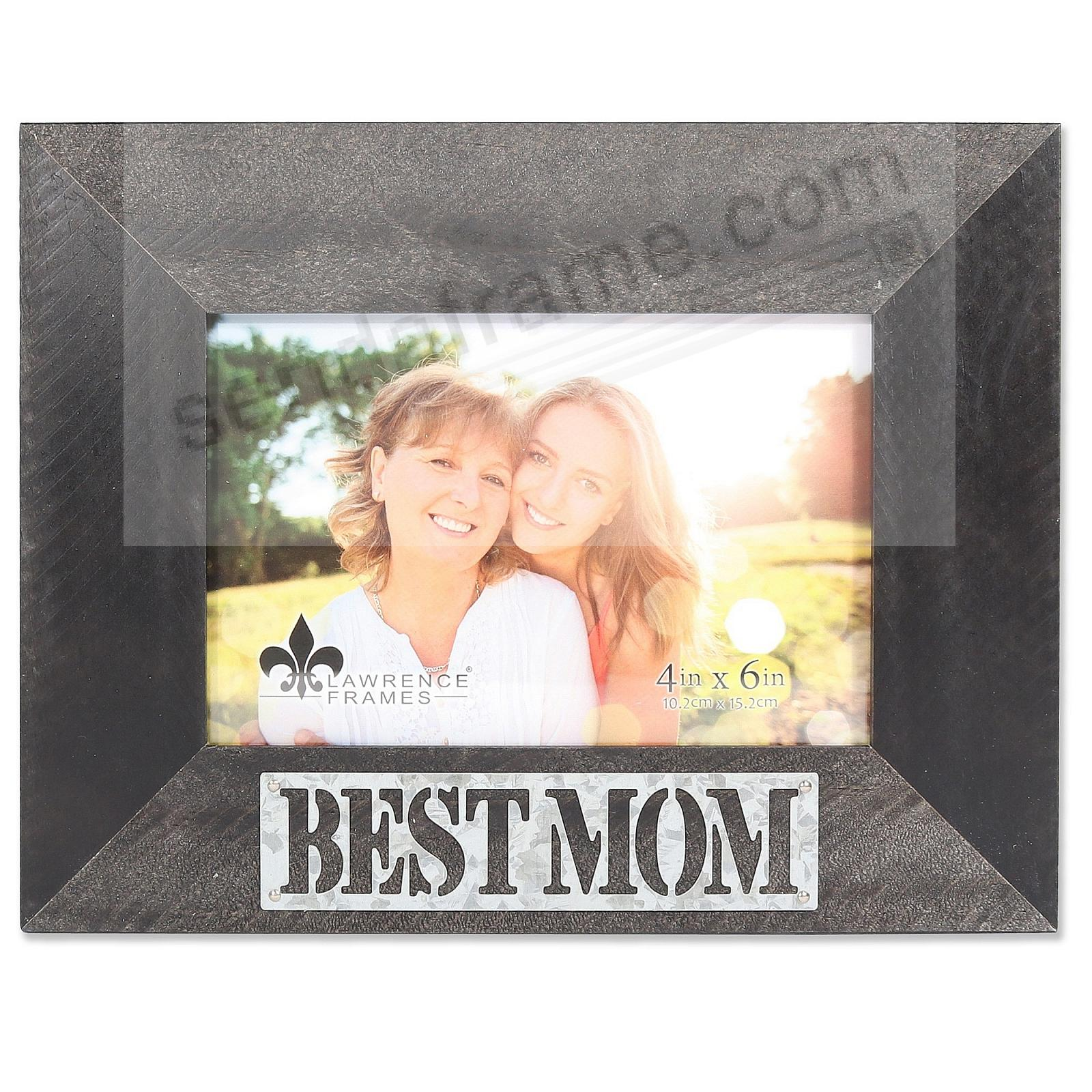 Black Weathered Frame with Galvanized Metallic BEST MOM Plaque