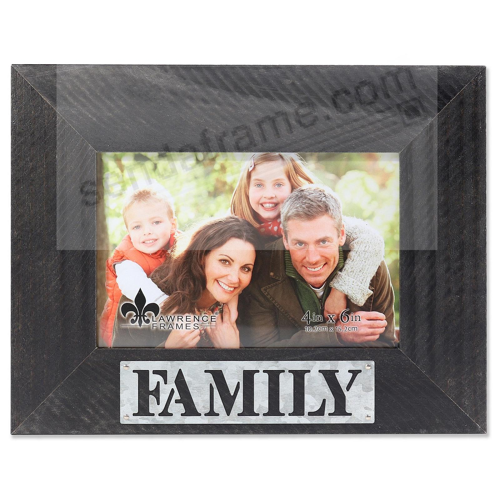 Black Weathered Frame with Galvanized Metallic FAMILY Plaque