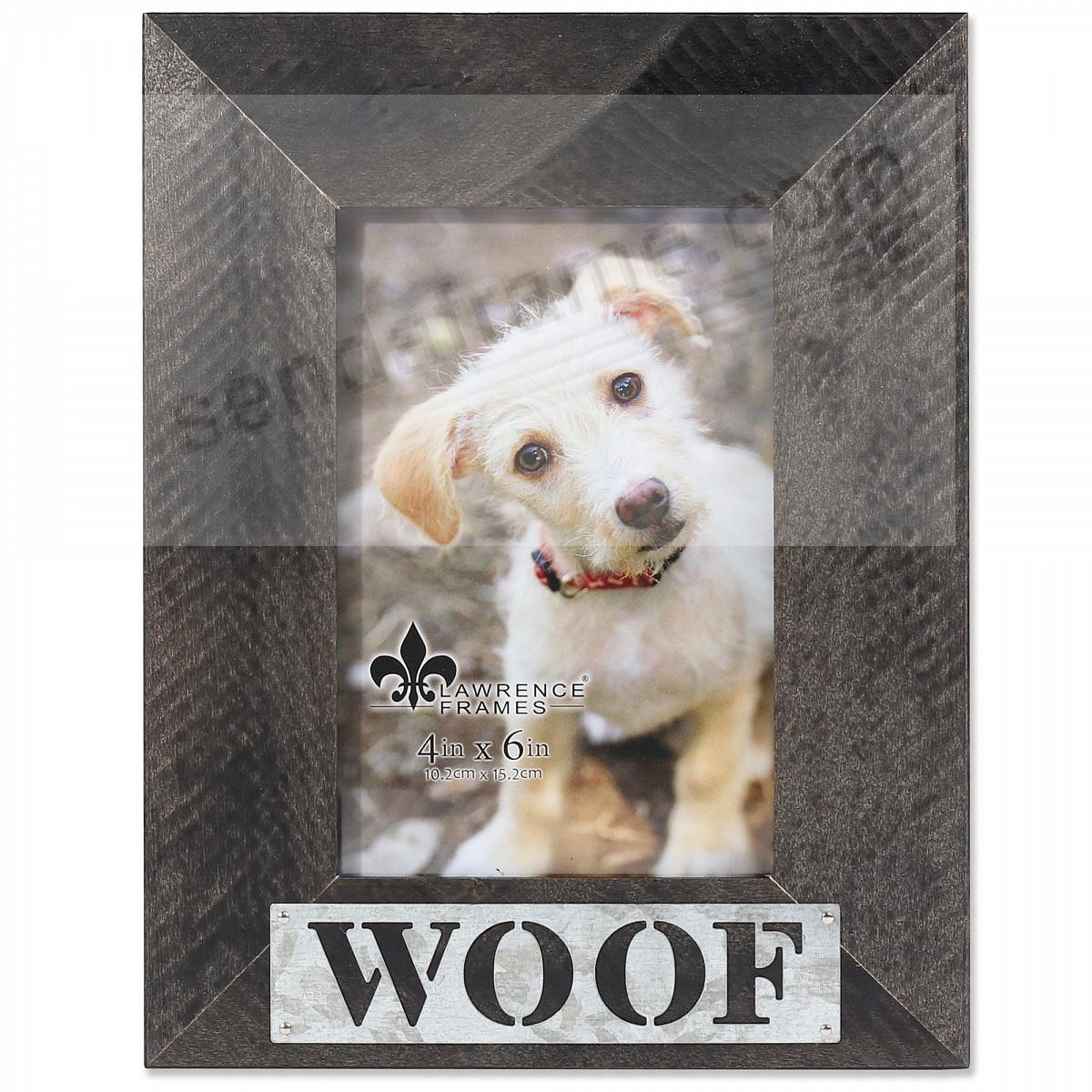 Black Weathered Frame with Galvanized Metallic WOOF Plaque