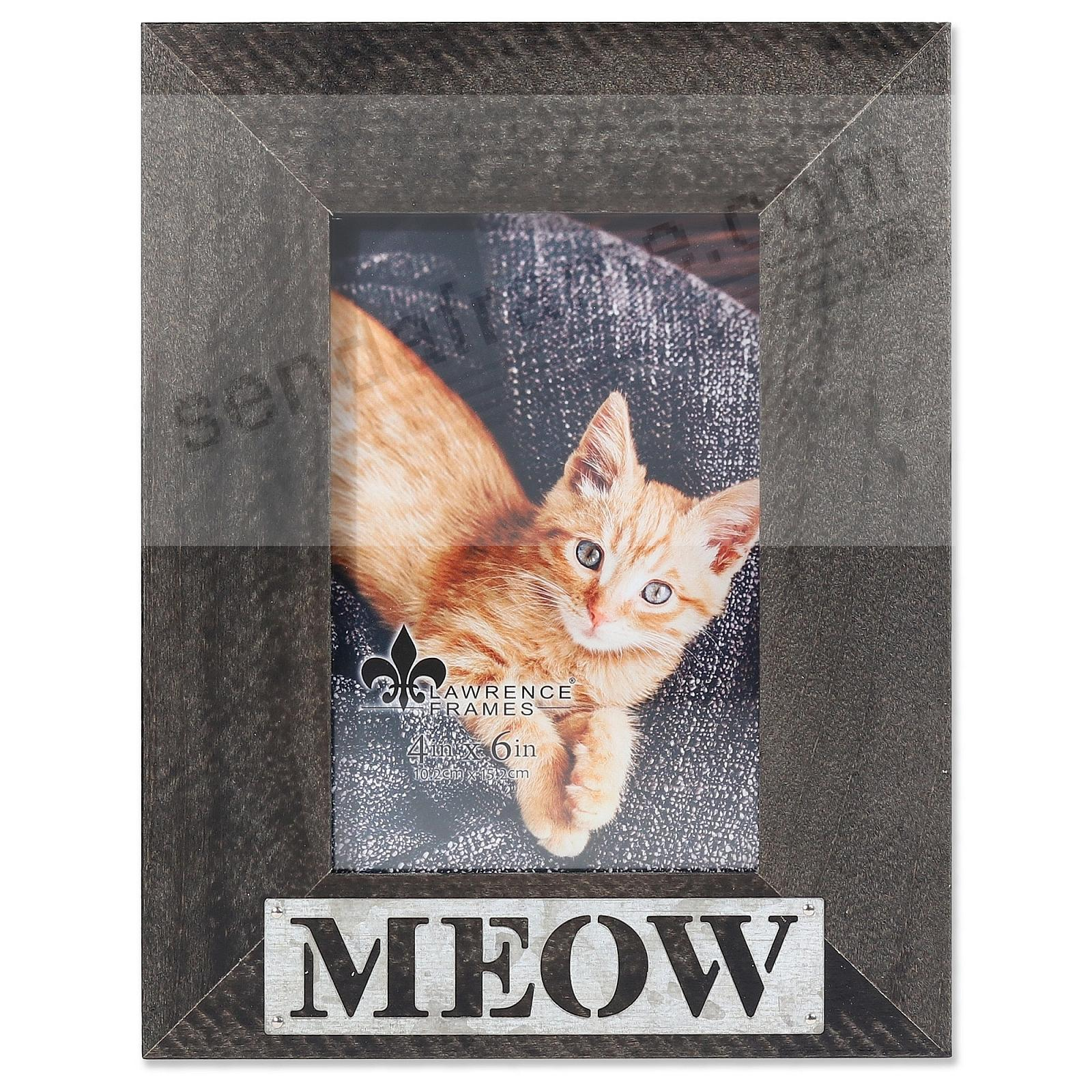 Black Weathered Frame with Galvanized Metallic MEOW Plaque