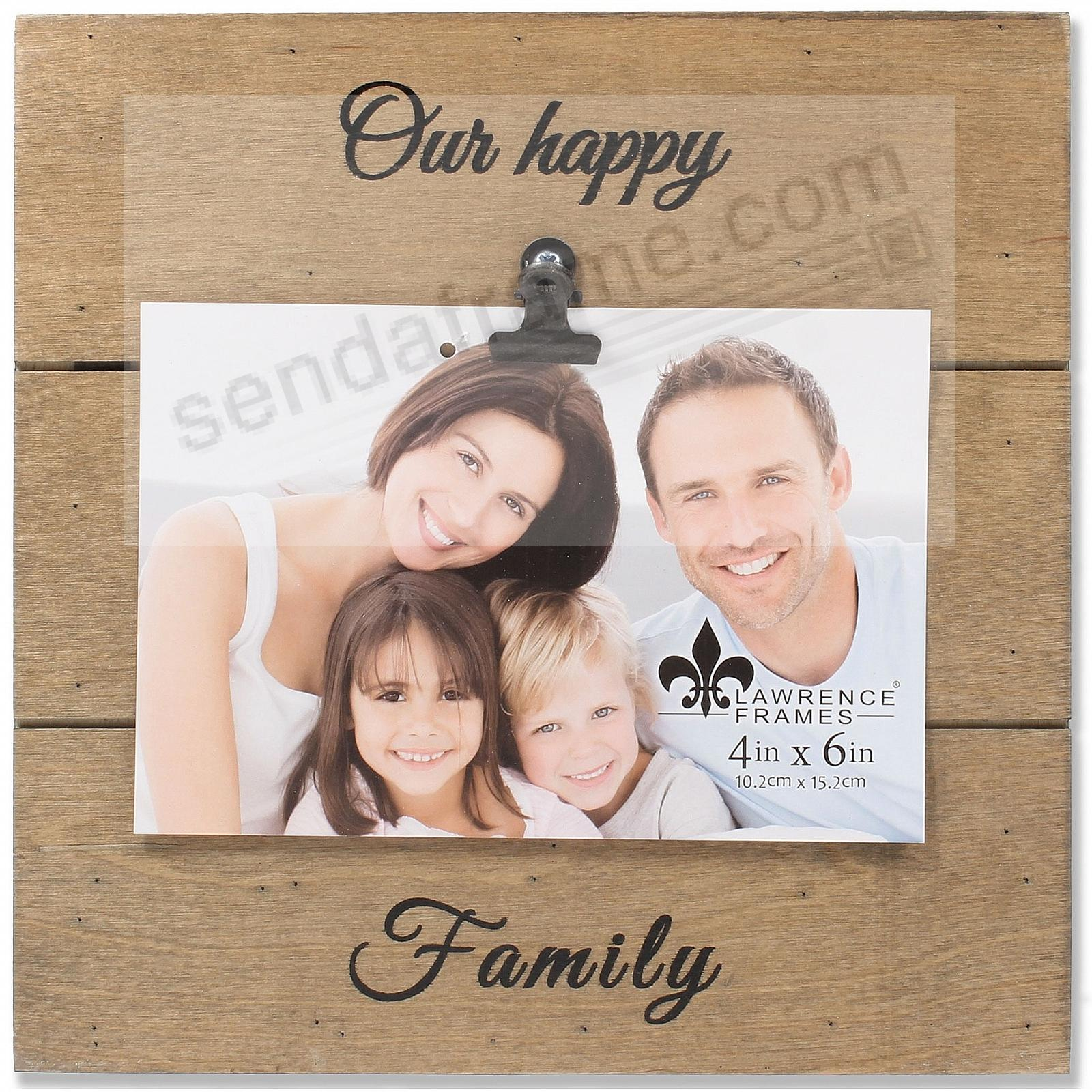 Natural Weathered Clip Frame OUR HAPPY FAMILY
