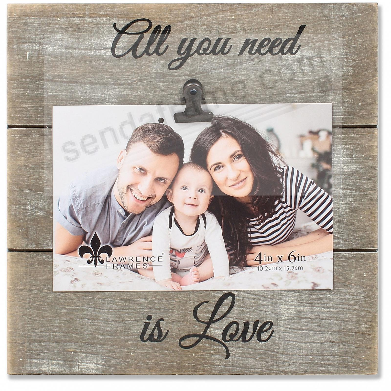 Gray Weathered Clip Frame ALL YOU NEED IS LOVE