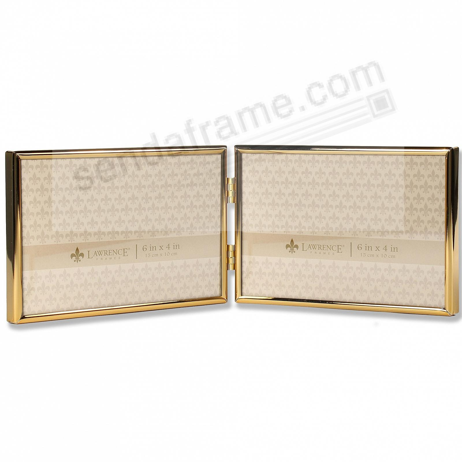 Polished SIMPLY GOLD double hinged 6x4 frame by Lawrence®