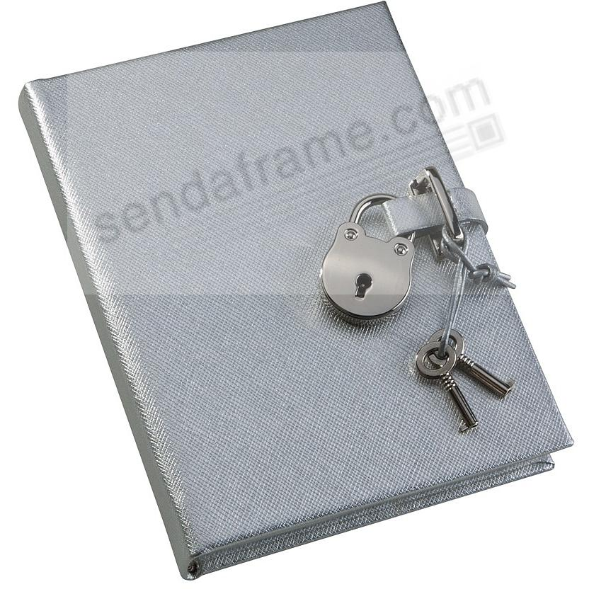 SILVER DIARY (Small) with HEART LOCK in Saffiano eco-leather by Graphic Image™