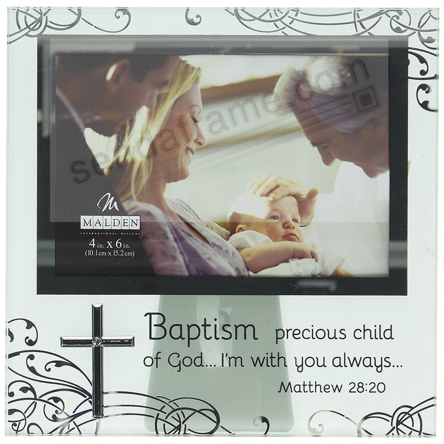 Baby's Baptism Special Etched Glass Celebration frame