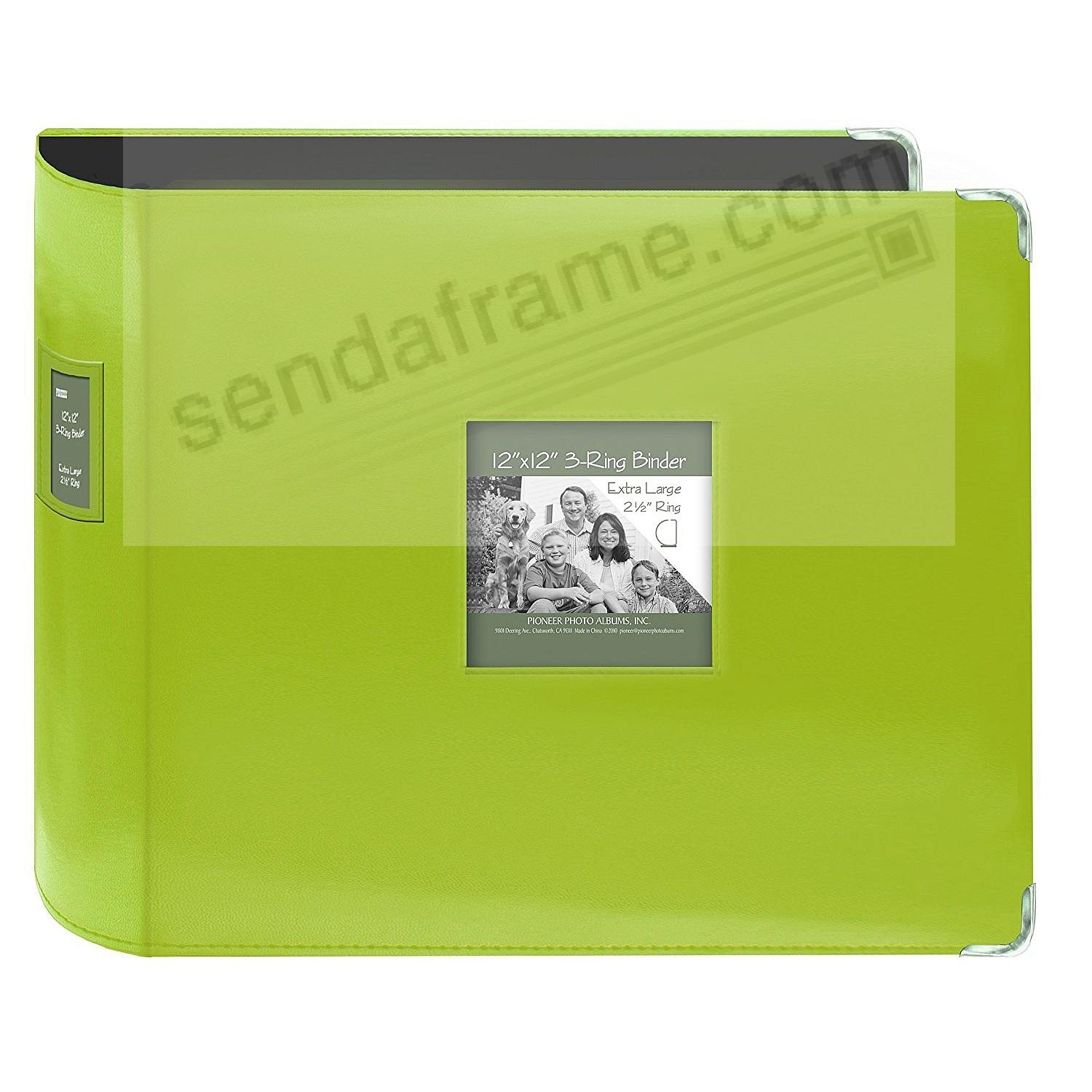 Sewn Leatherette 3-Ring Binder (unfilled) LIME-GREEN by Pioneer®