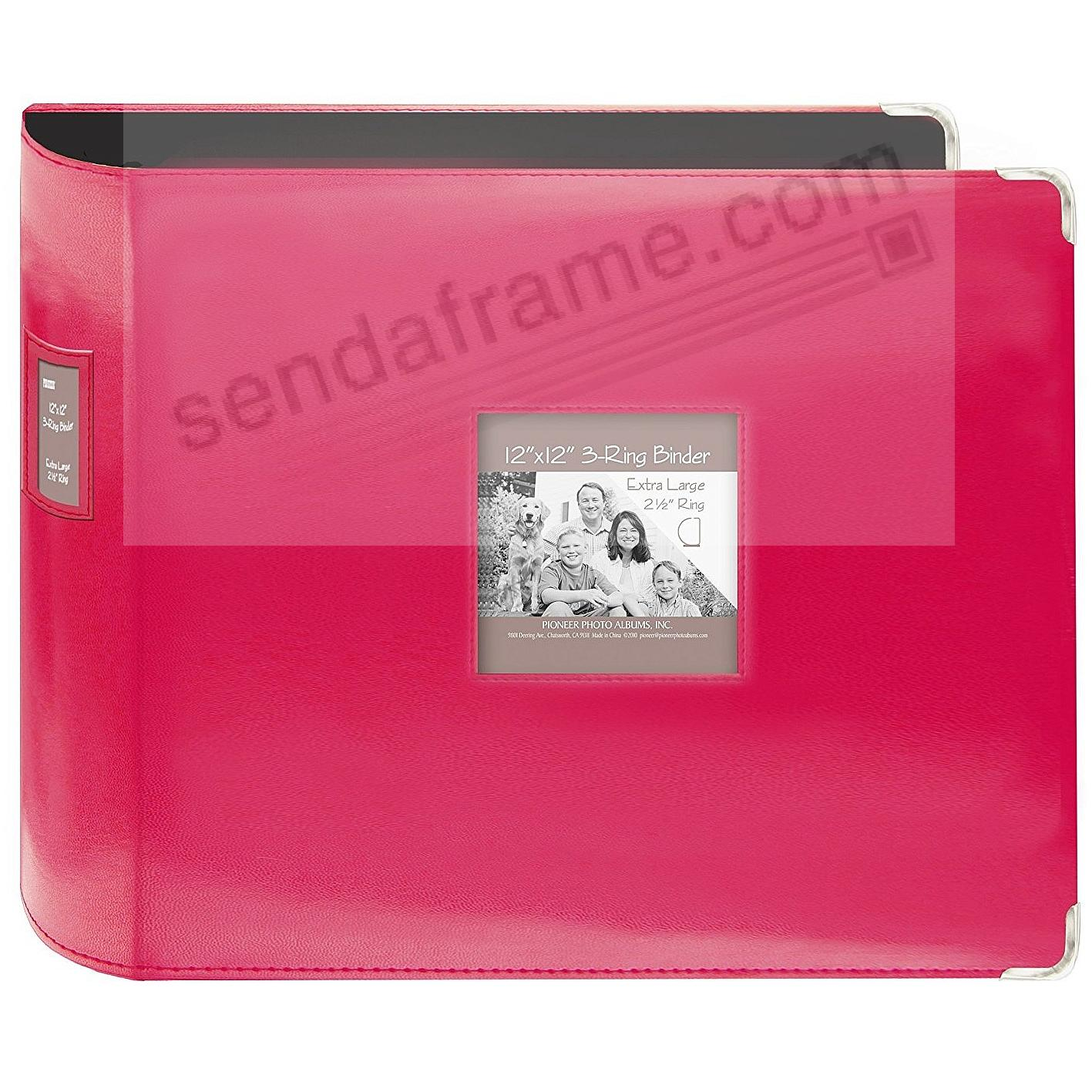 Sewn Leatherette 3-Ring Binder (unfilled) BRIGHT-PINK by Pioneer®