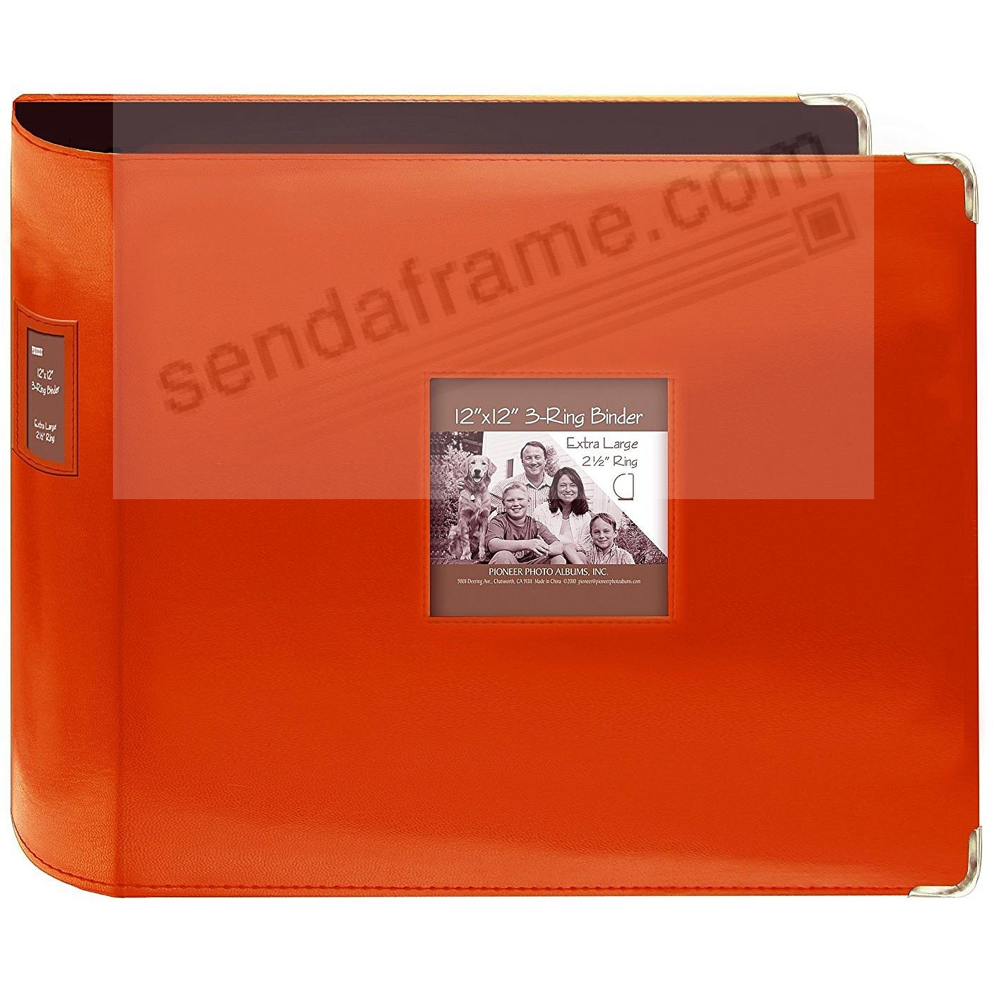 Sewn Leatherette 3-Ring Binder (unfilled) BRIGHT-ORANGE by Pioneer®