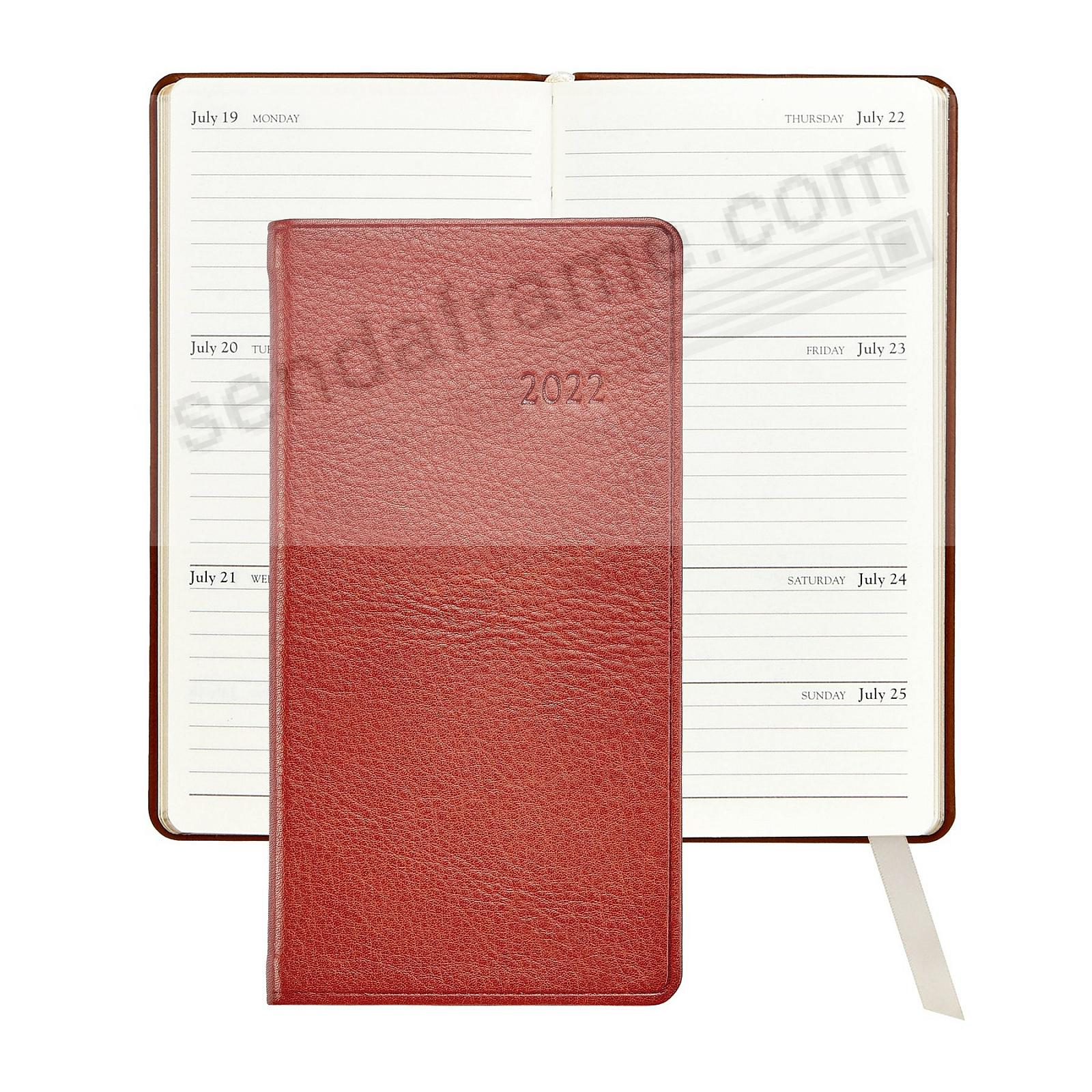 2018 SABLE-TAN 6in Pocket Datebook Diary in Fine Pebble-Grain Leather by Graphic Image™