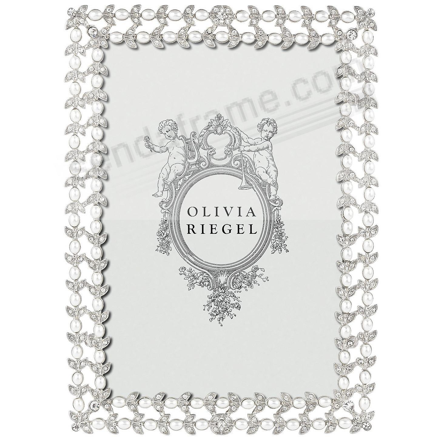 CHARLOTTE SILVER Austrian Crystal/Pearl 4x6 frame by Olivia Riegel®