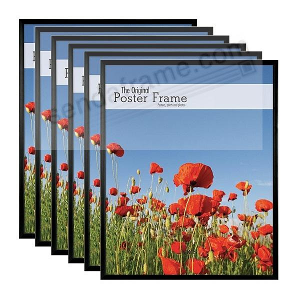 Black plastic POSTER size frame with Corrugated Backing by MCS® - Set of 6