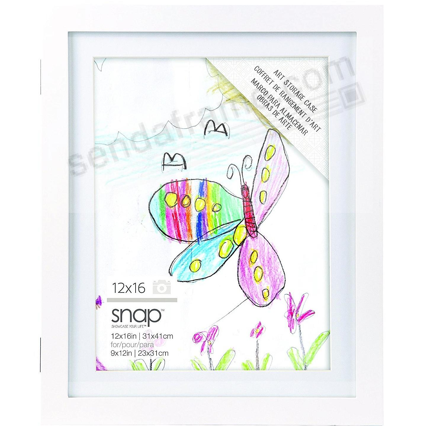 Art Display Case12x16/9x12 White Wood frame by SNAP®