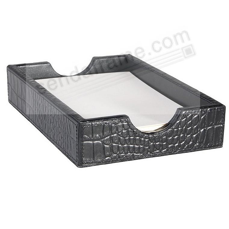 Memo Tray Black Crocodile Embossed Leather by Graphic Image™