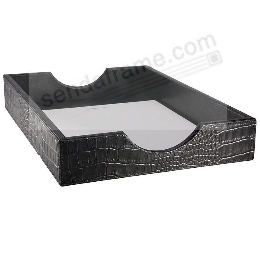 Letter Tray Black Crocodile Embossed Leather by Graphic Image™