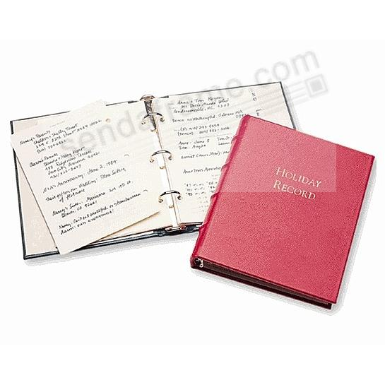 The Original Graphic Image™ HOLIDAY RECORD Journal in fine RED Leather