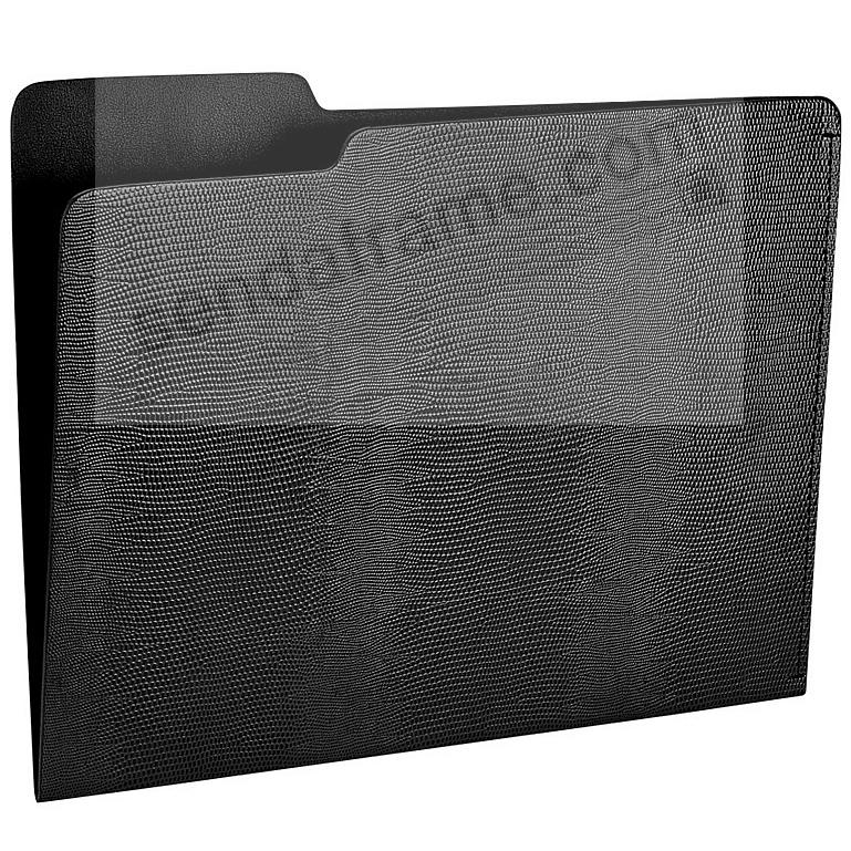The CARLO File Folder GREY/Black Lizard-Embossed Paper by Graphic Image®