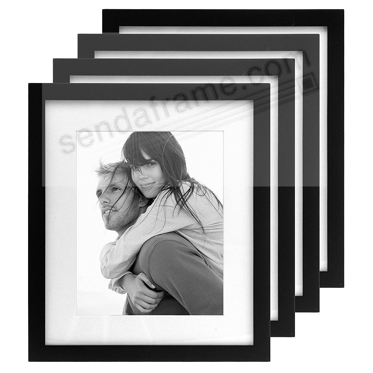 (4-Pack) LINEAR WOOD Black Frame with 11x13/8x10 coordinated mat by Malden®