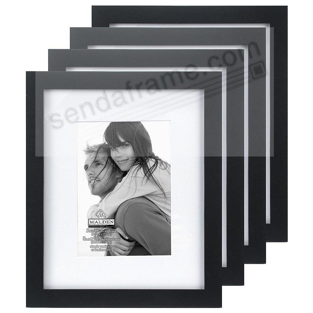 (4-pack) LINEAR WOOD Black Frame with 8x10/5x7 coordinated mat by Malden®