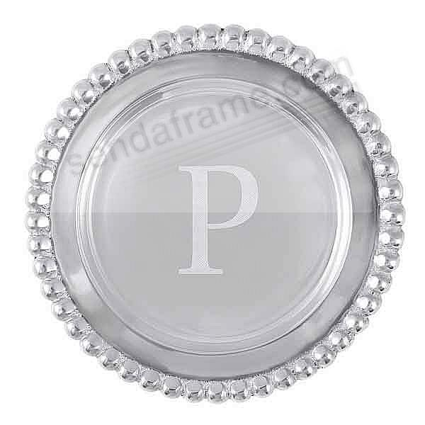 The original BEADED WINE PLATE Engraved -P- by Mariposa®