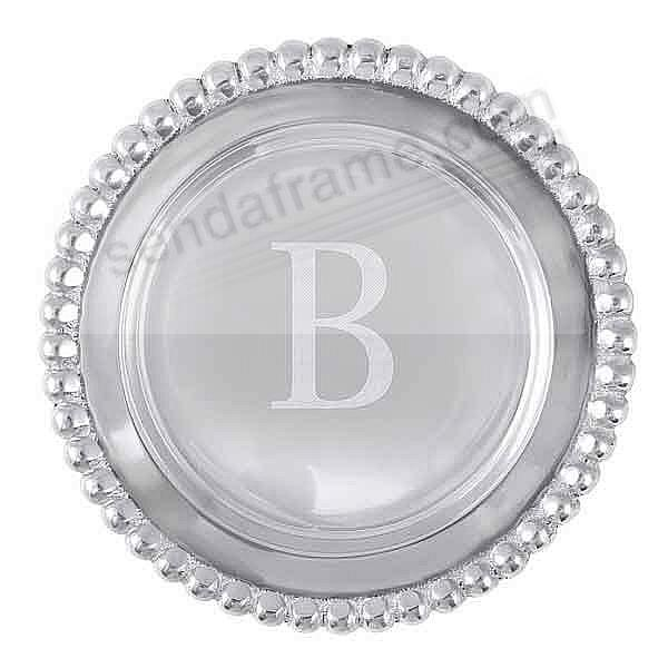 The original BEADED WINE PLATE Engraved -B- by Mariposa®