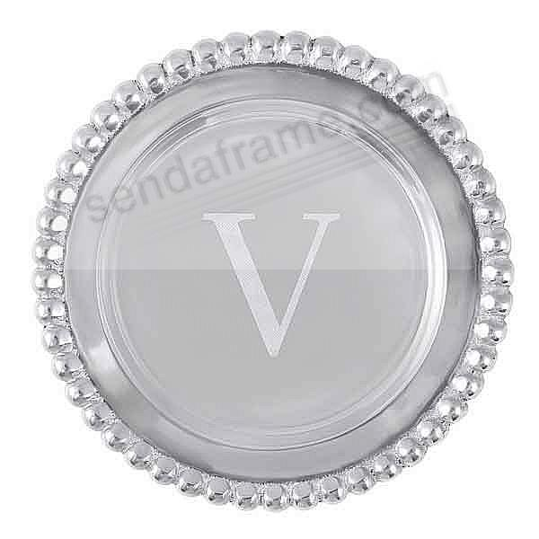 The original BEADED WINE PLATE Engraved -V- by Mariposa®