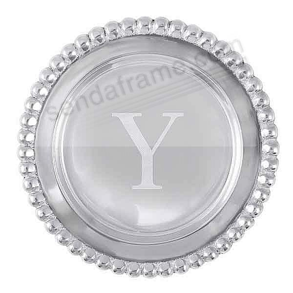 The original BEADED WINE PLATE Engraved -Y- by Mariposa®