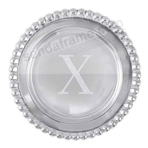 The original BEADED WINE PLATE Engraved -X- by Mariposa®