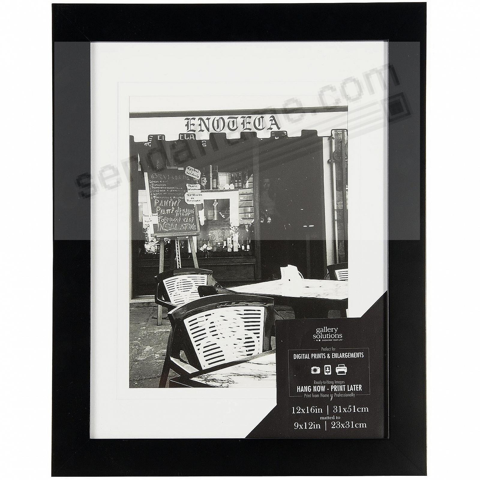 Black Wood Wall Frame Matted 12X169X12 By Gallery Solutionstrade