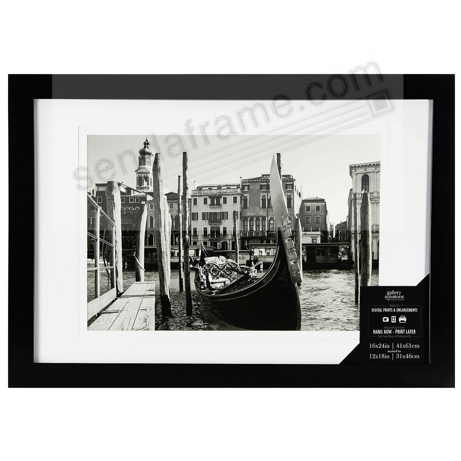Black Wood Wall Frame Matted 16x24/12x18 by Gallery Solutions™