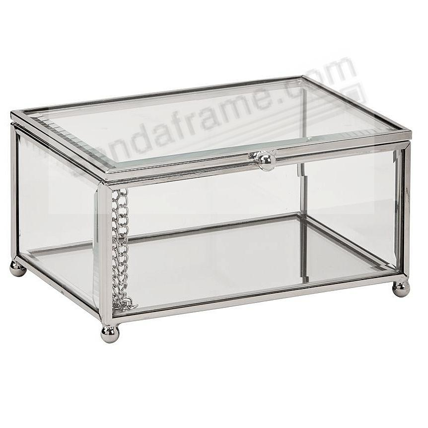 CLARO Glass/Silver  5½x4x2¾ Storage Box