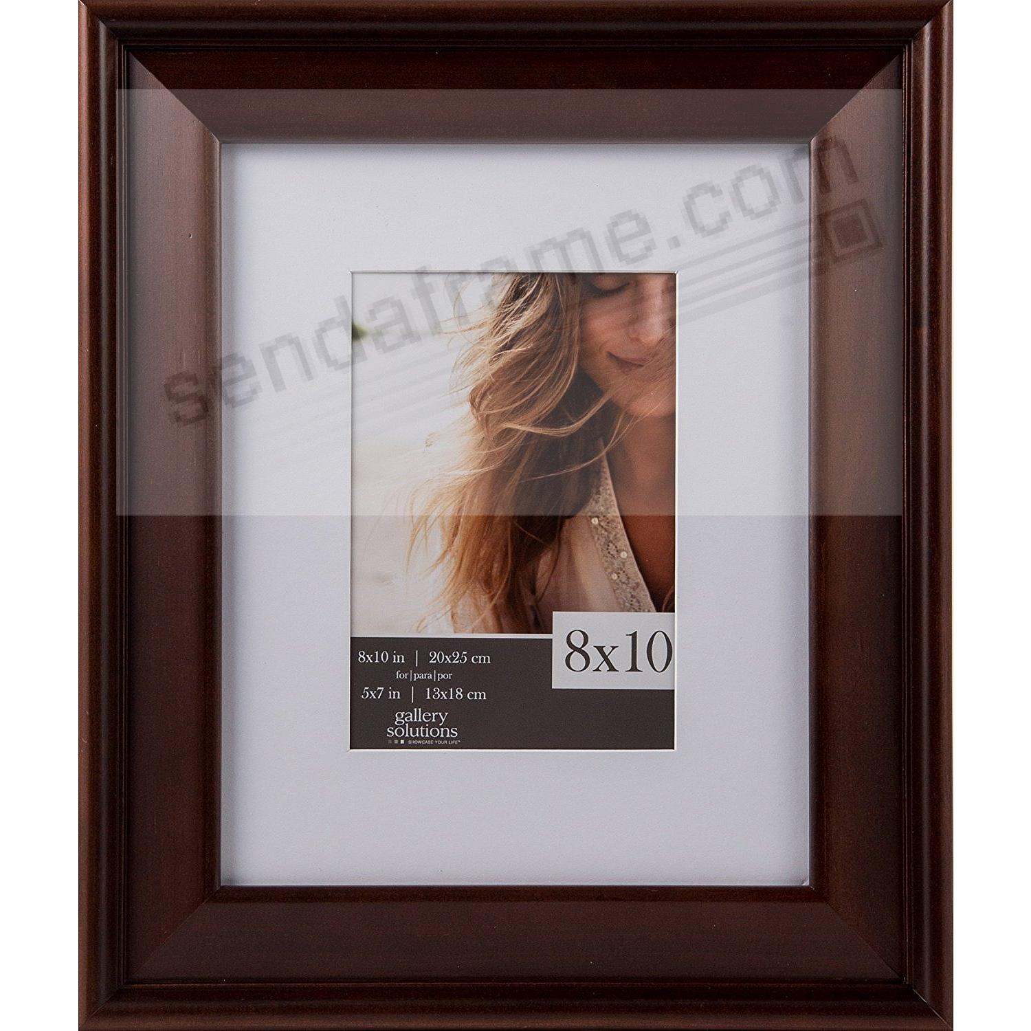 Walnut Wood Wall Frame 8x10 matted to 5x7 by Gallery Solutions™