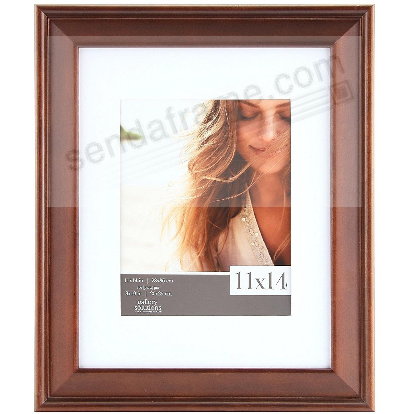 Walnut Wood Wall Frame 11x14 matted to 8x10 by Gallery Solutions™