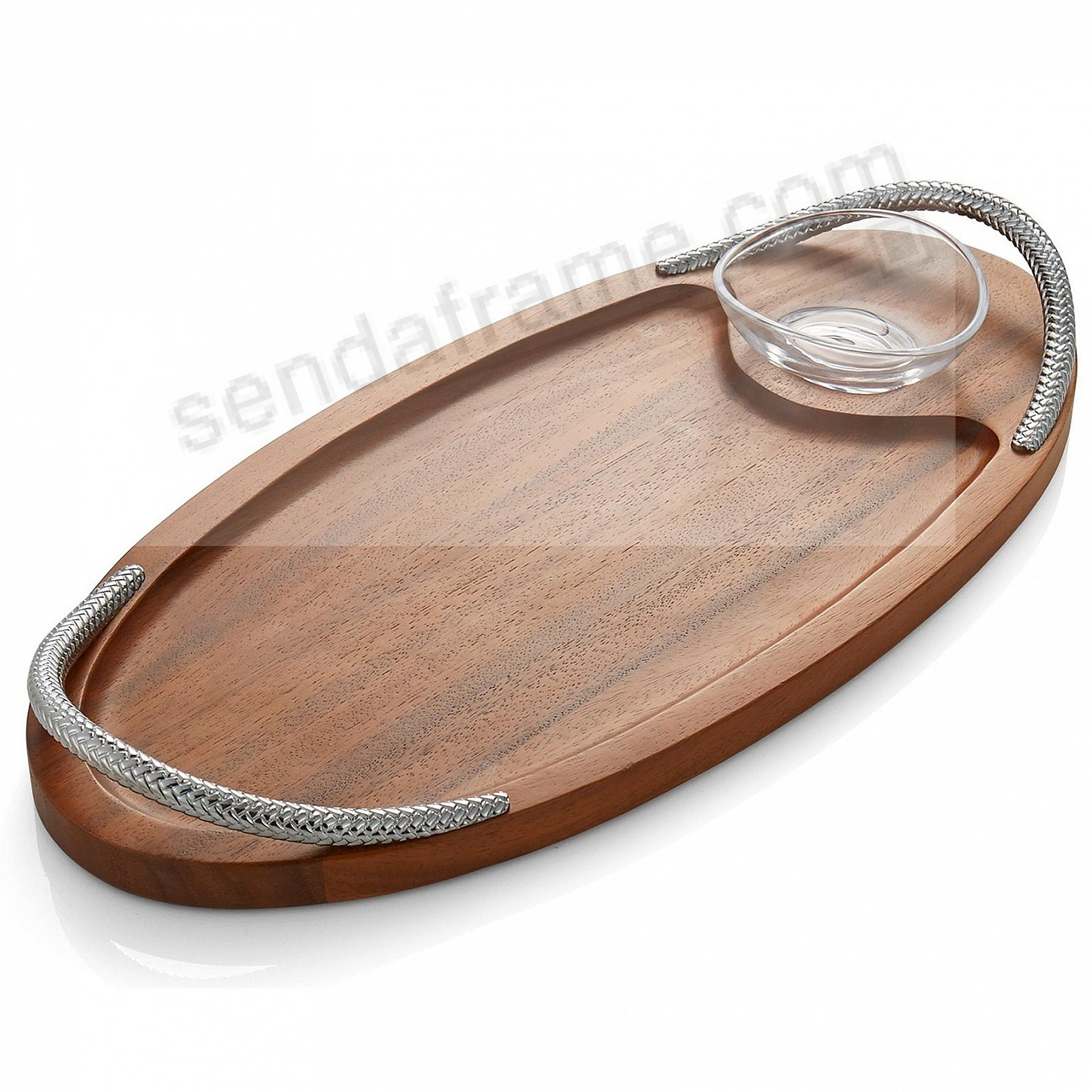 The BRAID SERVING BOARD w/DIPPING DISH crafted by Nambe®