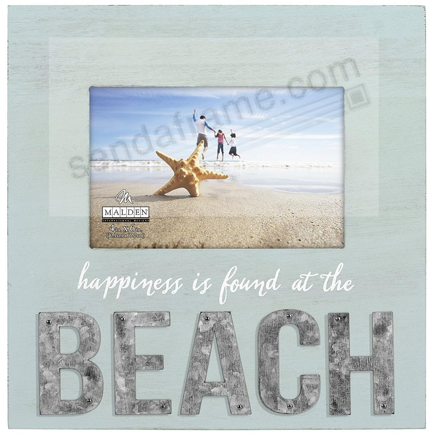HAPPINESS IS FOUND AT THE BEACH Coastal Wood 5x7/4x6 Frame Sign by Malden®