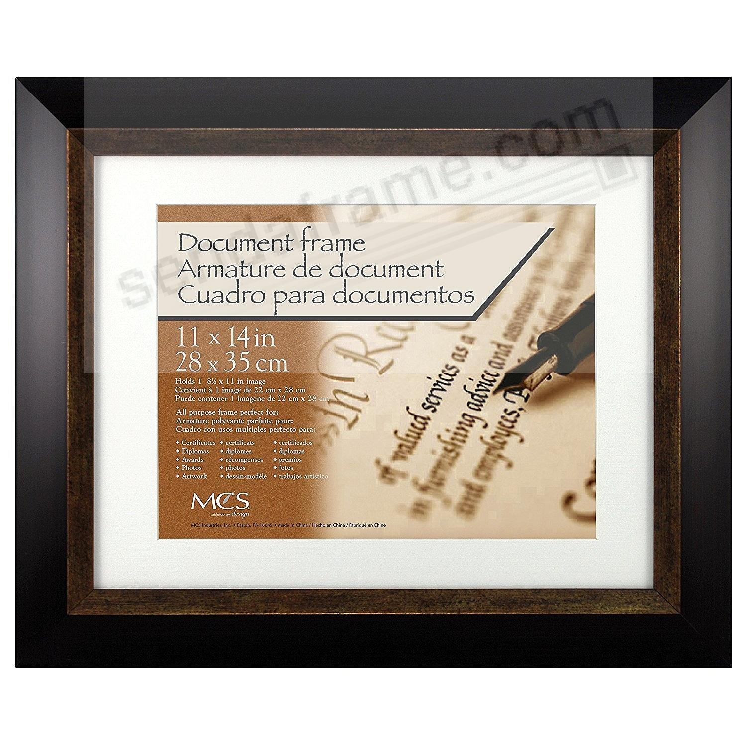 FAIRMONT ESPRESSO w/BRONZE DOUBLE MATTED Fancy Certificate frame by MCS®