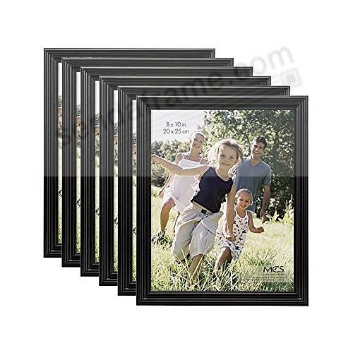 TRADITIONAL RIDGED Solid Wood Black 8x10 frame from MCS® (6 Pack)