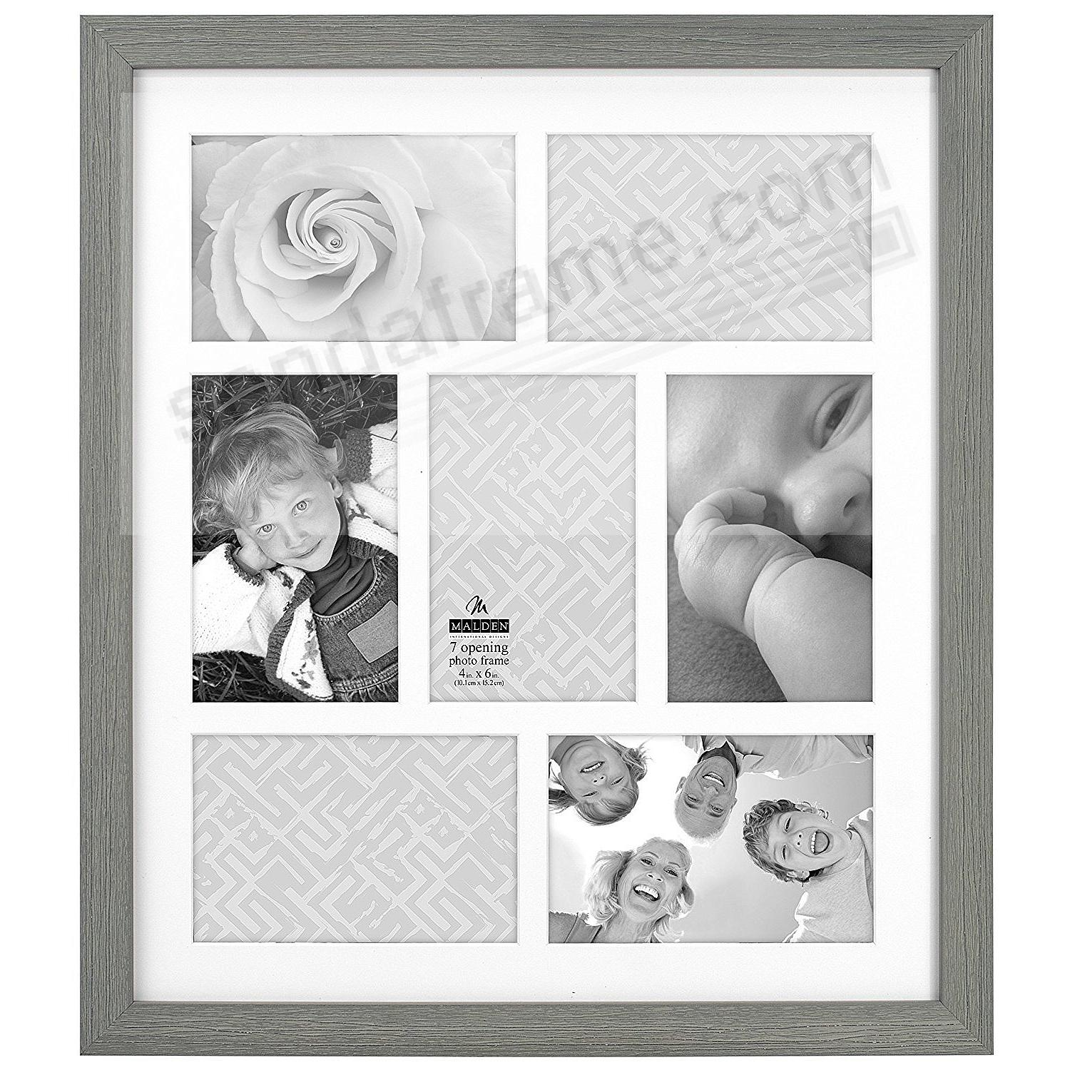 DISTRESSED GRAY Matted Collage<br>displays (7) 4x6 photos by Malden Design&reg;.