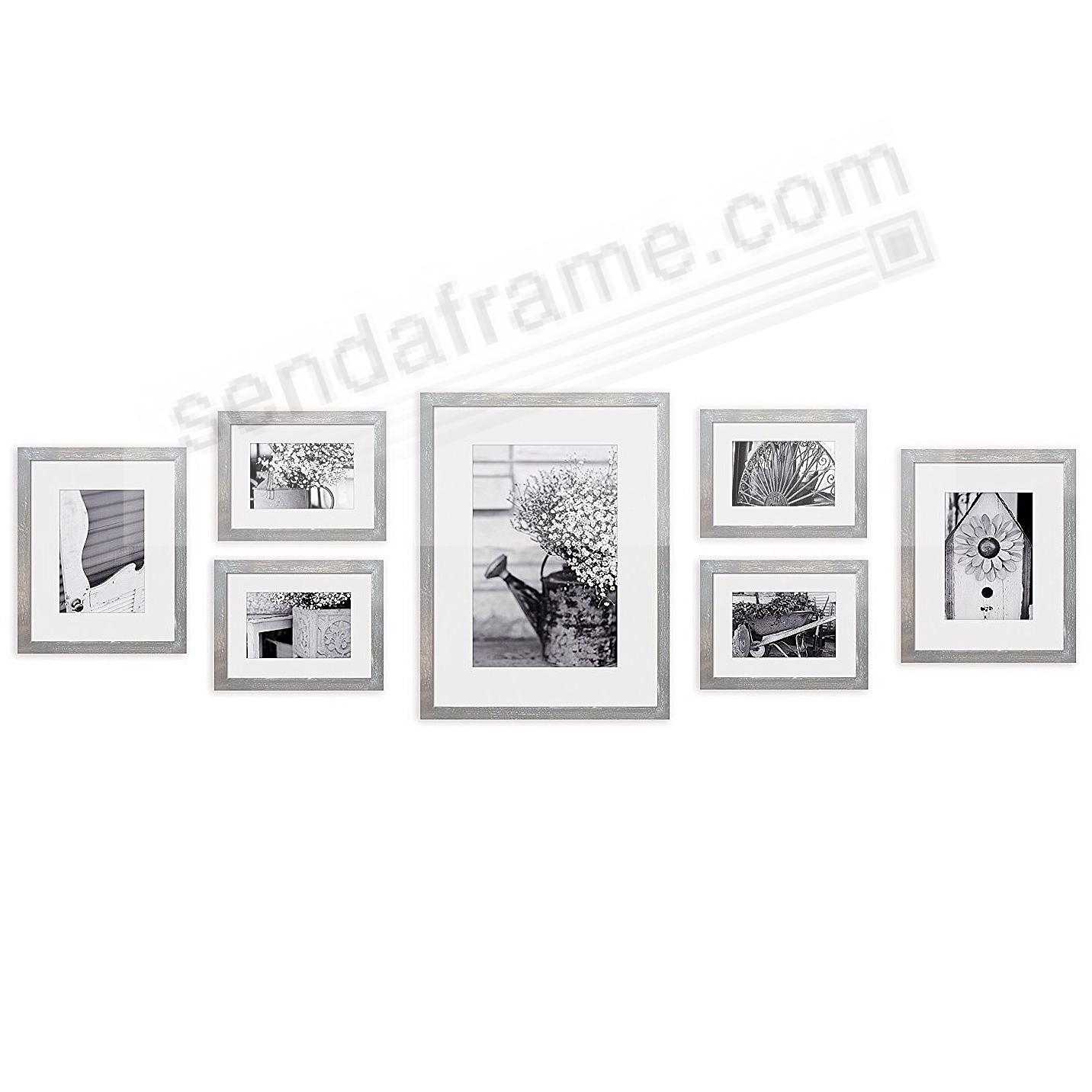 7-Piece Grey-Wash Wood Wall Frame Kit by Gallery Solutions™