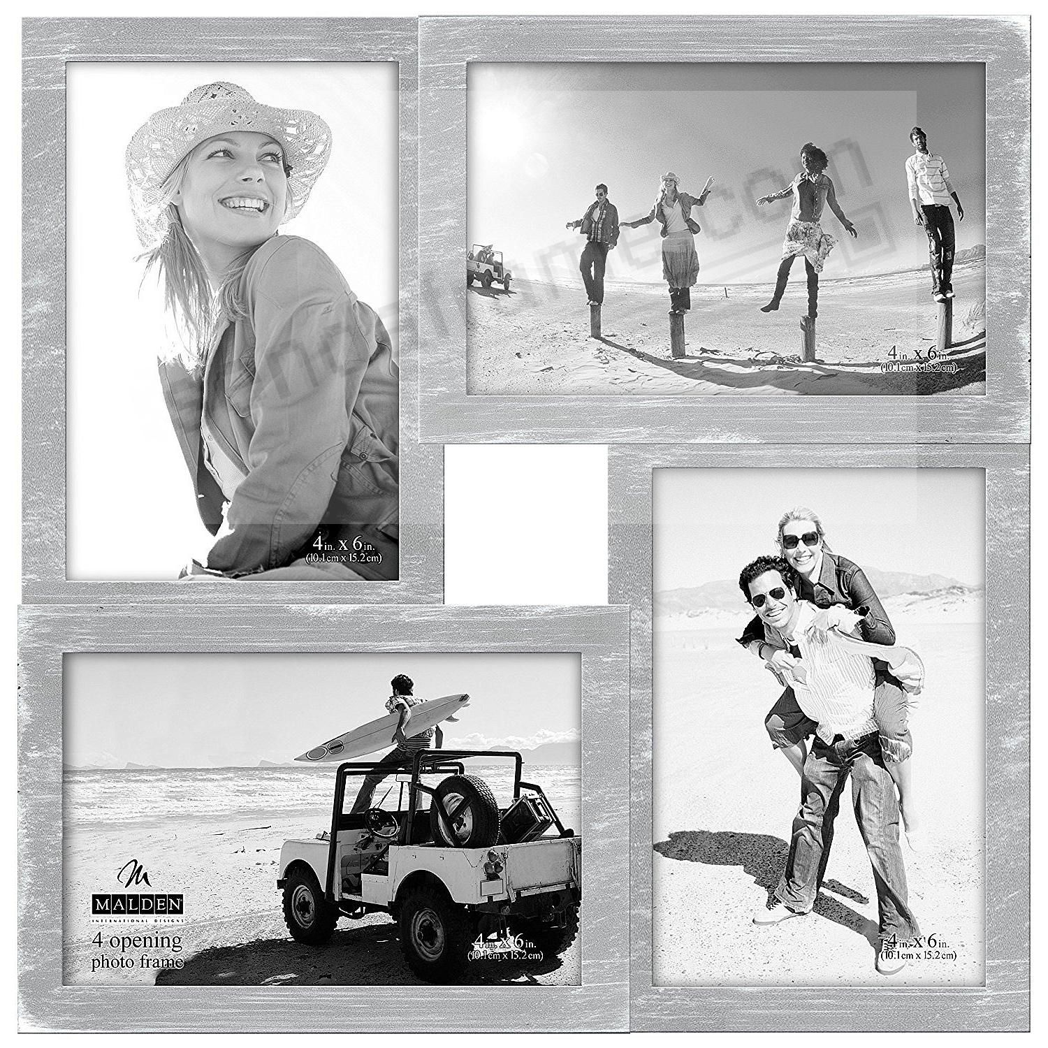 GRAY-WASH 4-opening PUZZLE collage frame for 4x6 prints by Malden®