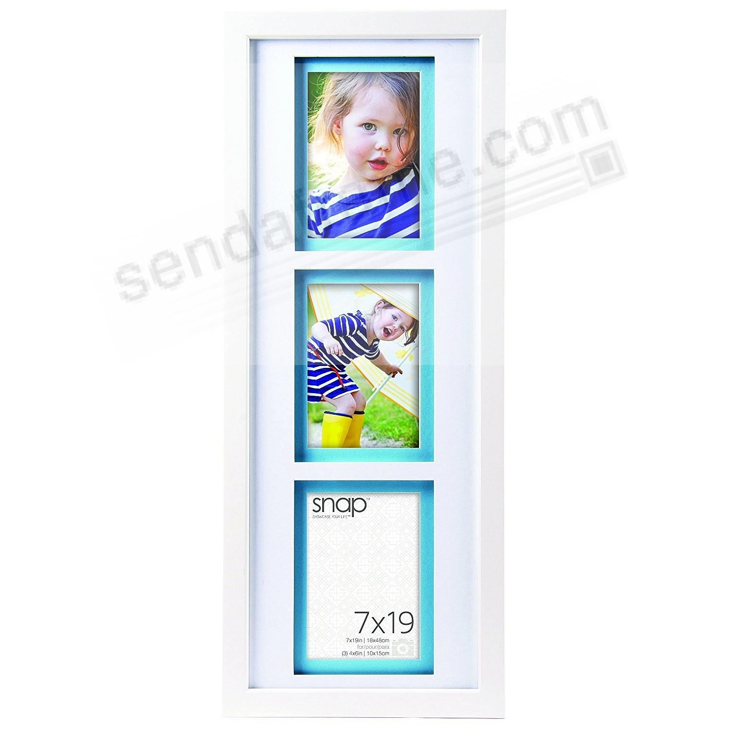 White Wall 7x19/3-4x6 Frame with AirFloat White/Turquoise Mat by ...