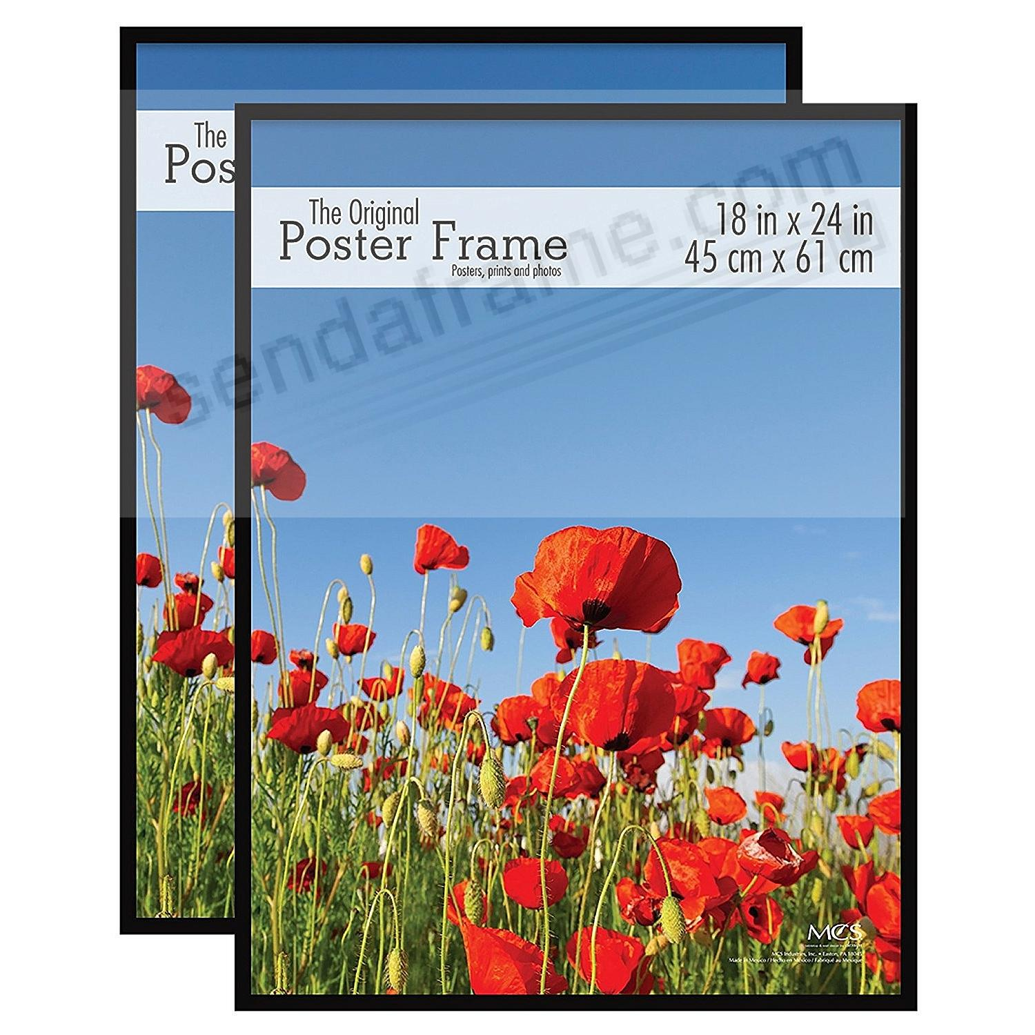 Black plastic POSTER size frame with Corrugated Backing (2 Pack)