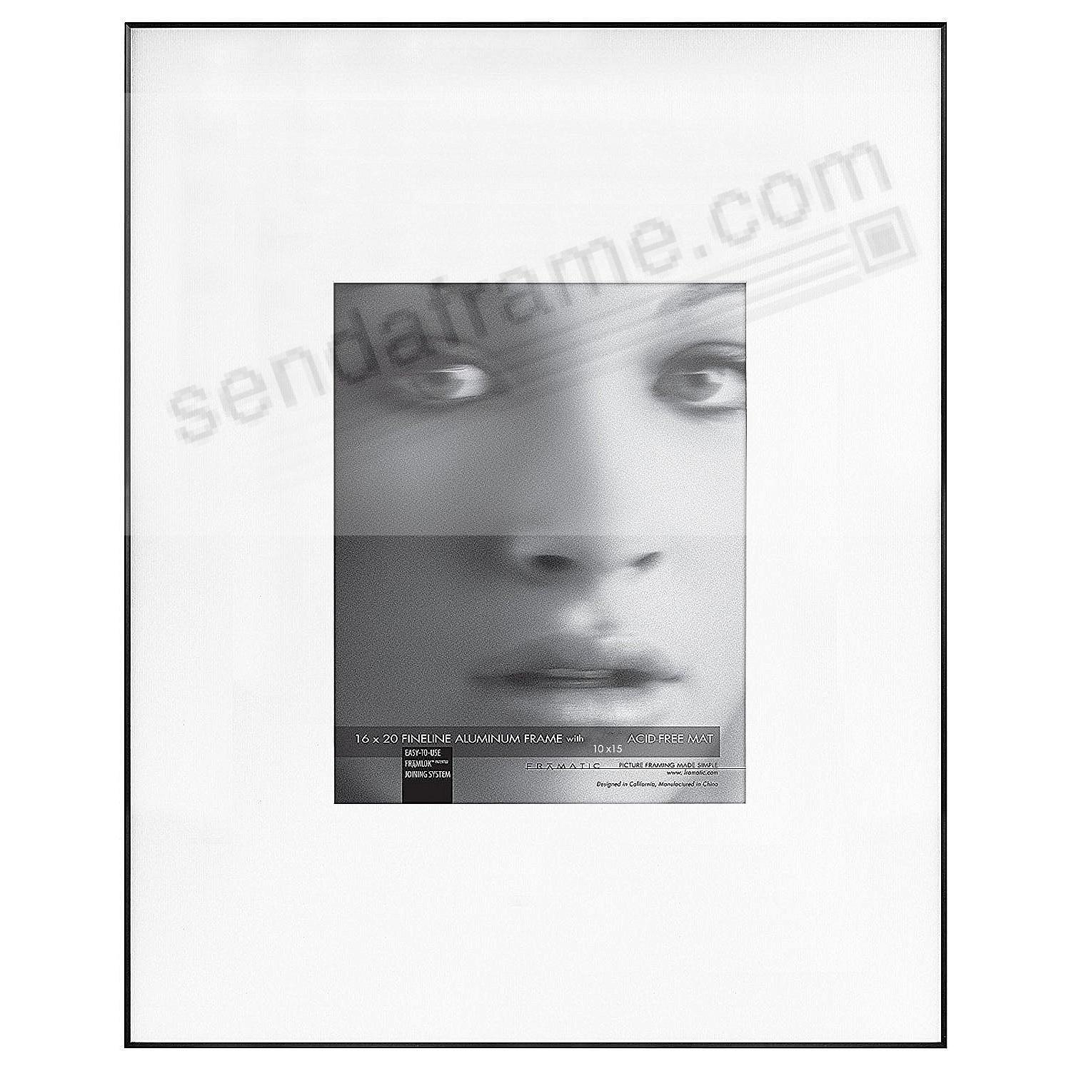 FINELINE Black Aluminum 16x20/10x15 Matted by Framatic®