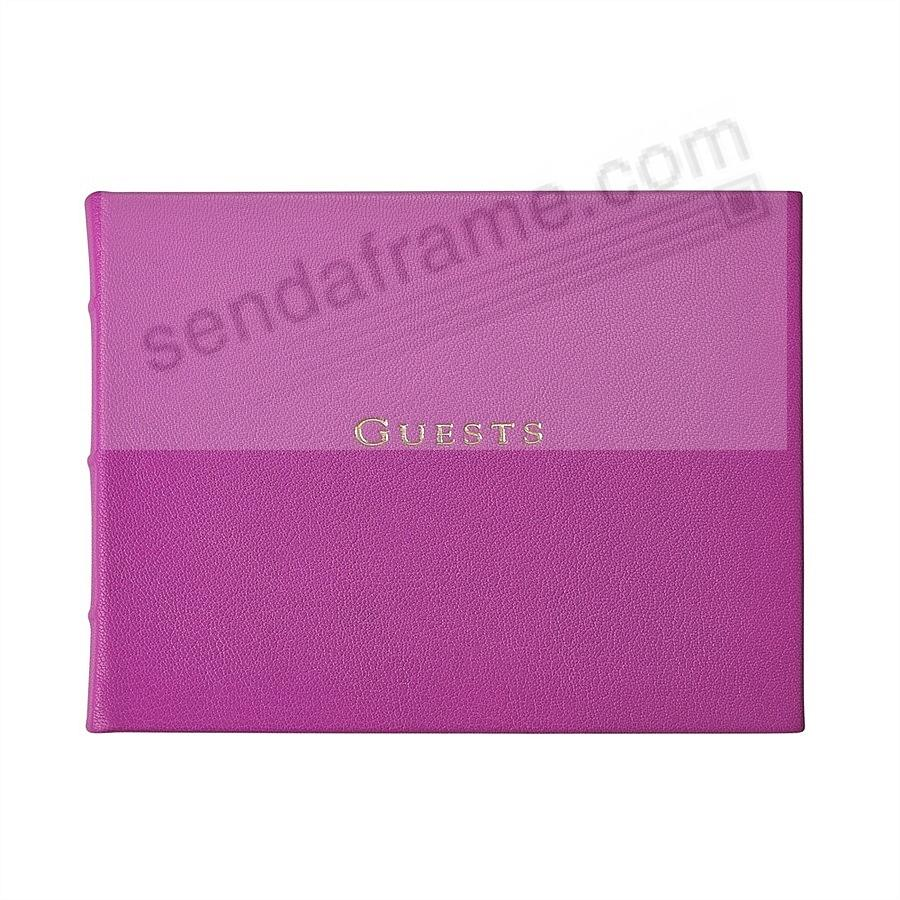 Brights ORCHID Leather GUESTS Book for a lasting record by Graphic Image®