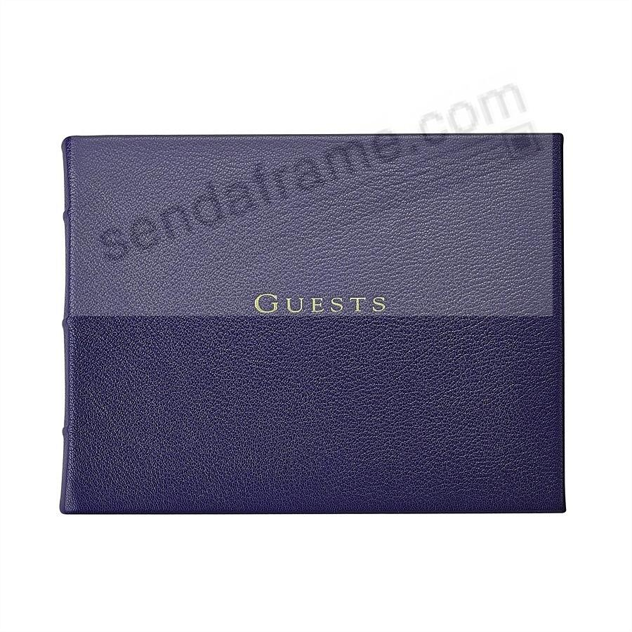 Brights INDIGO-BLUE Leather GUESTS Book for a lasting record by Graphic Image®