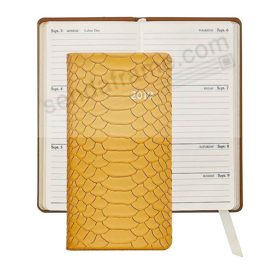 2019 YELLOW 6-in Pocket Datebook Fine PYTHON EMBOSSED Leather by Graphic Image™