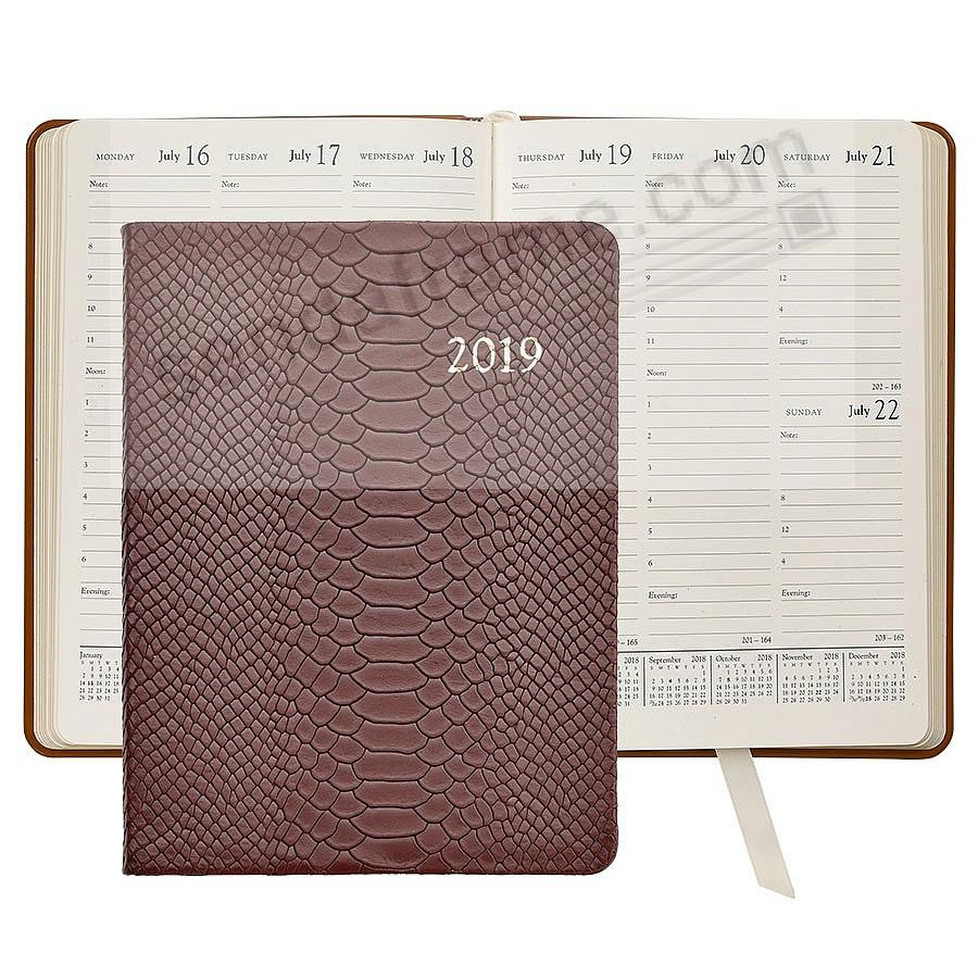2019 COGNAC PYTHON EMBOSSED Leather 9-in Desk Diary by Graphic Image™