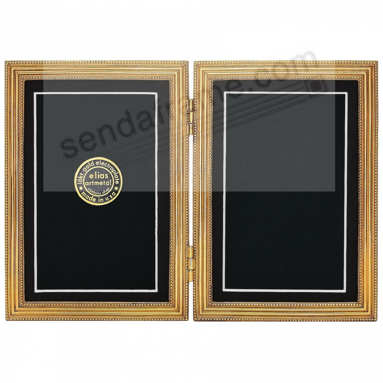 CLASSICO Museum Gold over Pewter Hinged 5x7/4x6 Double by Elias Artmetal®
